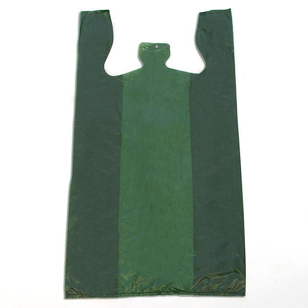 """Plastic T-shirt bag high density 12""""x7.5""""x23"""" .60 mil thick - green"""