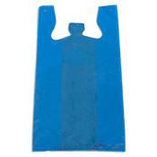 "Plastic T-shirt bag high density 12""x7.5""x23"" .60 mil thick - blue"