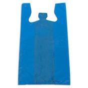 """Plastic T-shirt bag high density 12""""x7.5""""x23"""" .60 mil thick - blue"""