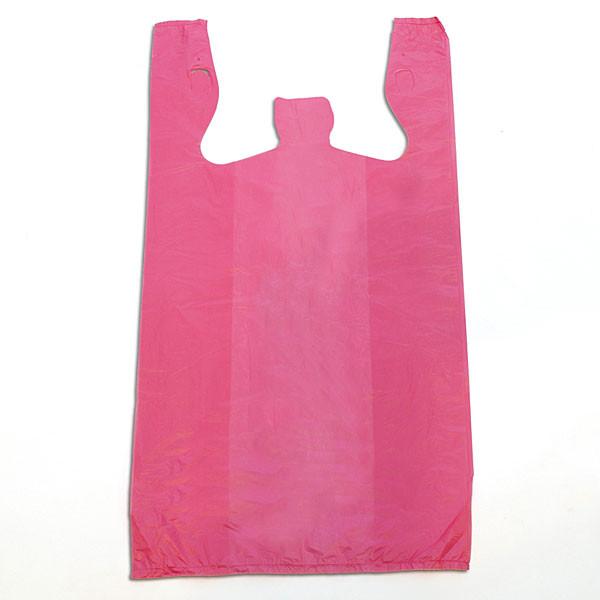 "Plastic T-shirt bag high density 12""x7.5""x23"" .60 mil thick - magenta"