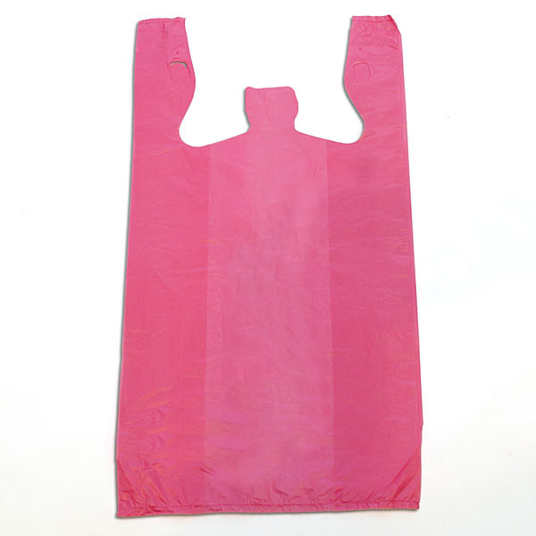 "Plastic T-shirt bag high density 12""x7.5""x23"" .60 mil thick - magenta"