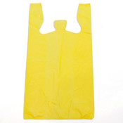 "Plastic T-shirt bag high density 12""x7.5""x23"" .60 mil thick - yellow"