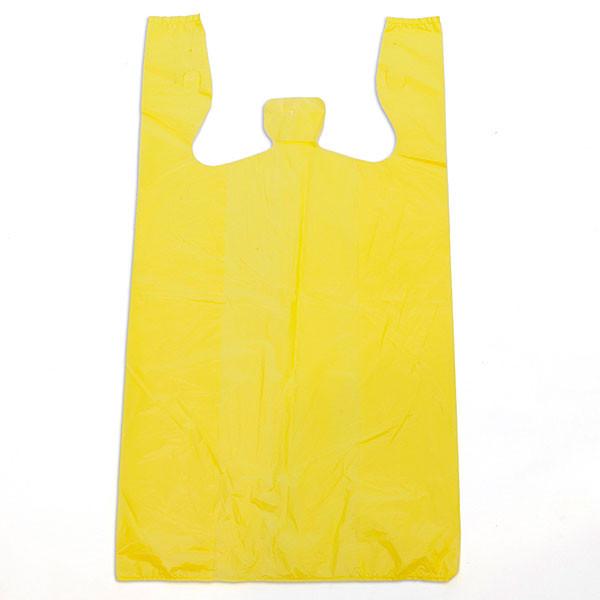 """Plastic T-shirt bag high density 12""""x7.5""""x23"""" .60 mil thick - yellow"""