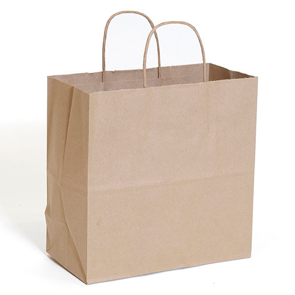 "Brown kraft shopping bag 10""x5""x10""- 250/case"