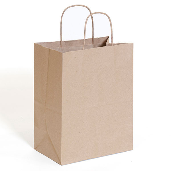 "Brown kraft shopping bag 8""x5""x10""- 250/case"