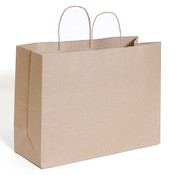 "Brown kraft shopping bag 16""x6""x12""- 250/case"