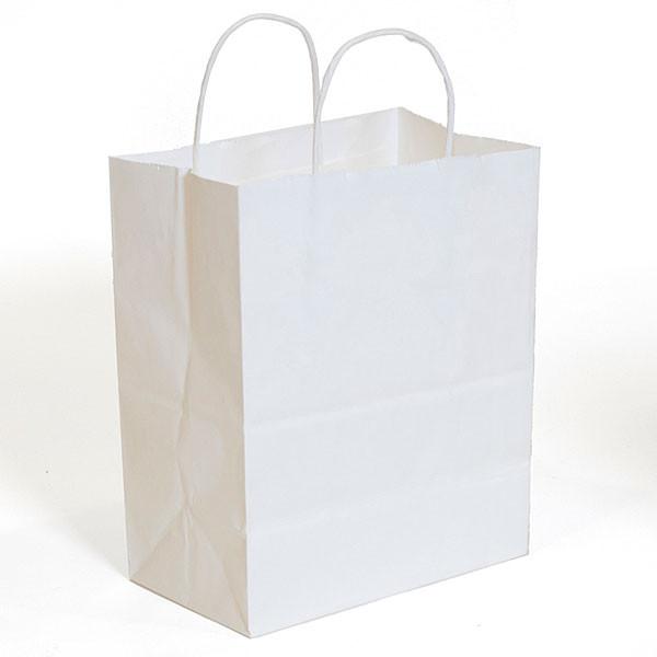 "White kraft shopping bag 8""x5""x10""- 250/case"
