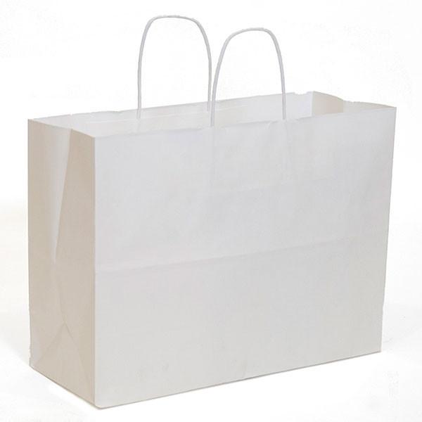 "White kraft shopping bag 16""x6""x12""- 250/case"
