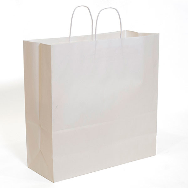 "White kraft shopping bag 18""x7""x19""- 200/case"