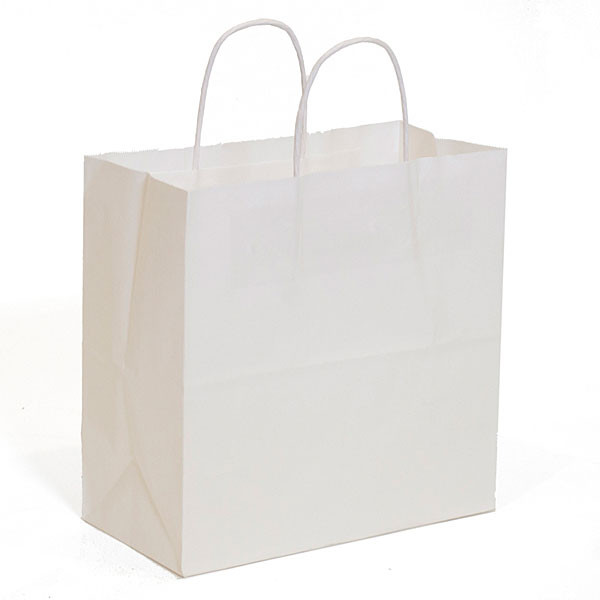 "White kraft shopping bag 10""x5""x10""- 250/case"