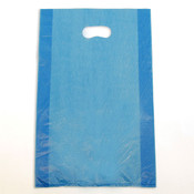 "Plastic bag with die cut handles high density 12""x3""x18"" blue"