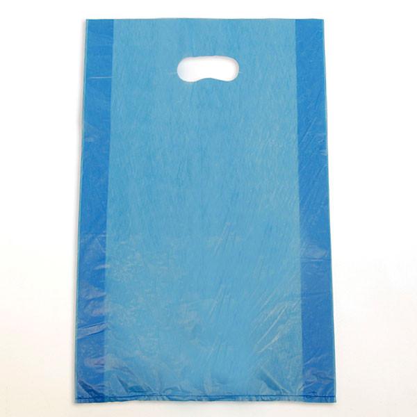 "Plastic bag with die cut handles high density 12""x3""x18"" blue"