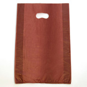 "Plastic bag with die cut handles high density 12""x3""x18"" burgundy"