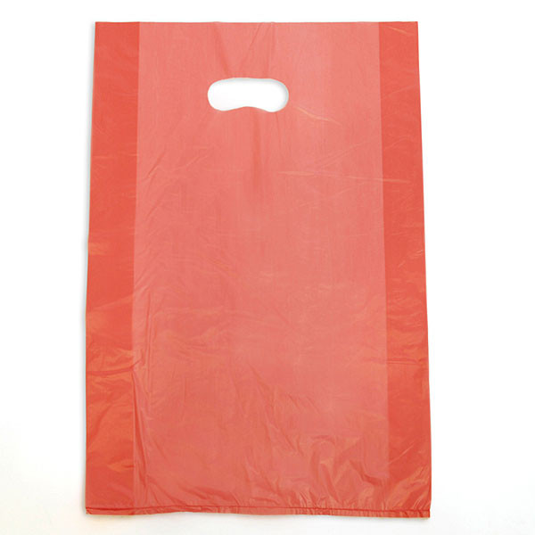 "Plastic bag with die cut handles high density 12""x3""x18"" red"