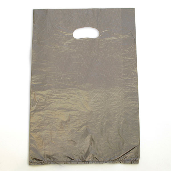 "Plastic bag with die cut handles high density 12""x3""x18"" silver"