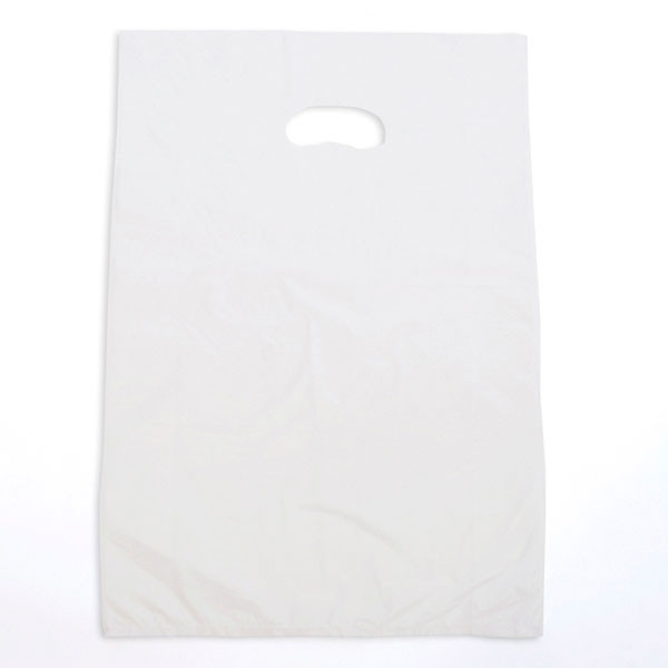 "Plastic bag with die cut handles high density 12""x3""x18"" white"