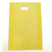"Plastic bag with die cut handles high density 12""x3""x18"" yellow"