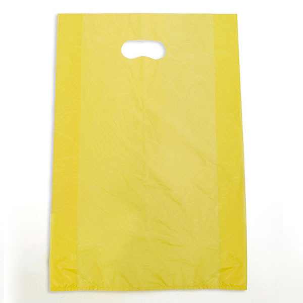 "Plastic bag with die cut handles high density 12""x3""x18"" yellow"
