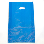 "Plastic bag with die cut handles high density 13""x3""x21"" blue"