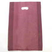 "Plastic bag with die cut handles high density 13""x3""x21"" burgundy"