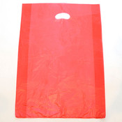 "Plastic bag with die cut handles high density 13""x3""x21"" red"