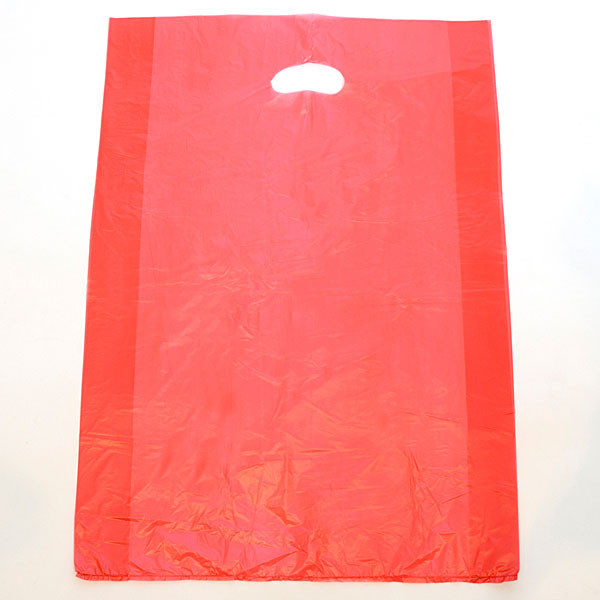 "Plastic bag with die cut handles high density 13""x3""x21"" red"