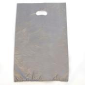 "Plastic bag with die cut handles high density 13""x3""x21"" silver"