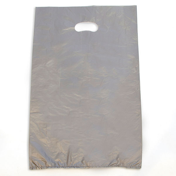 "Plastic bag with die cut handles high density 13""x3""x21"" silver"