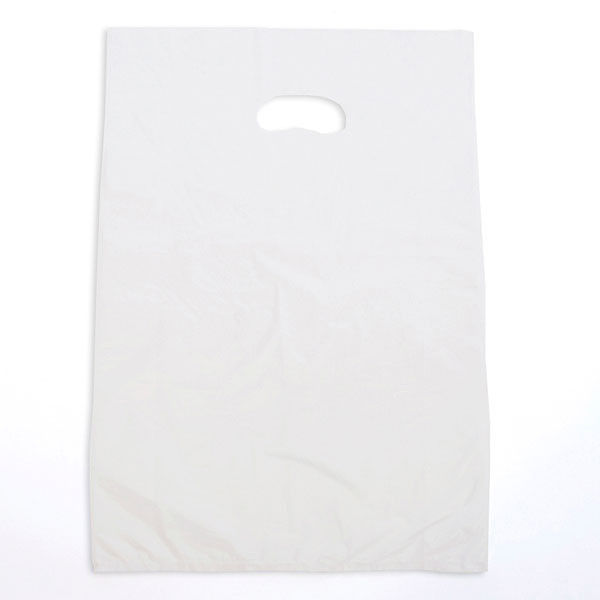 "Plastic bag with die cut handles high density 13""x3""x21"" white"