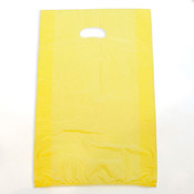 "Plastic bag with die cut handles high density 13""x3""x21"" yellow"