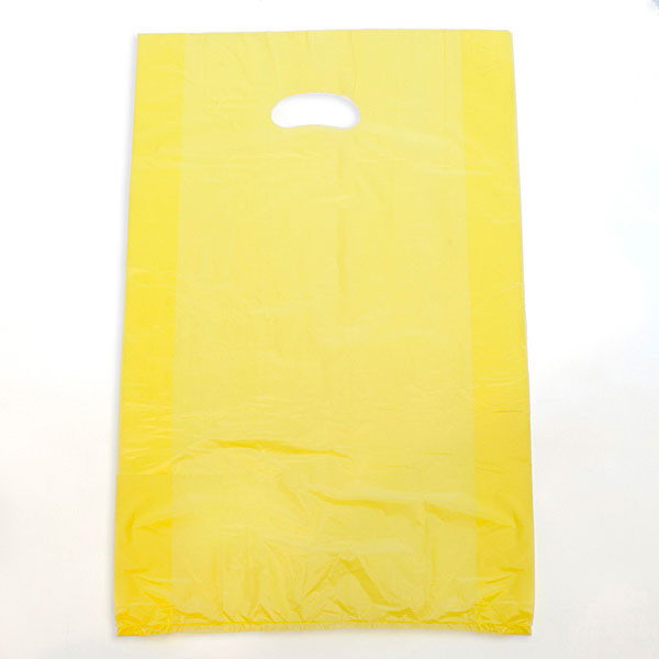 "Plastic bag with die cut handles high density 13""x3""x21"" yellow"