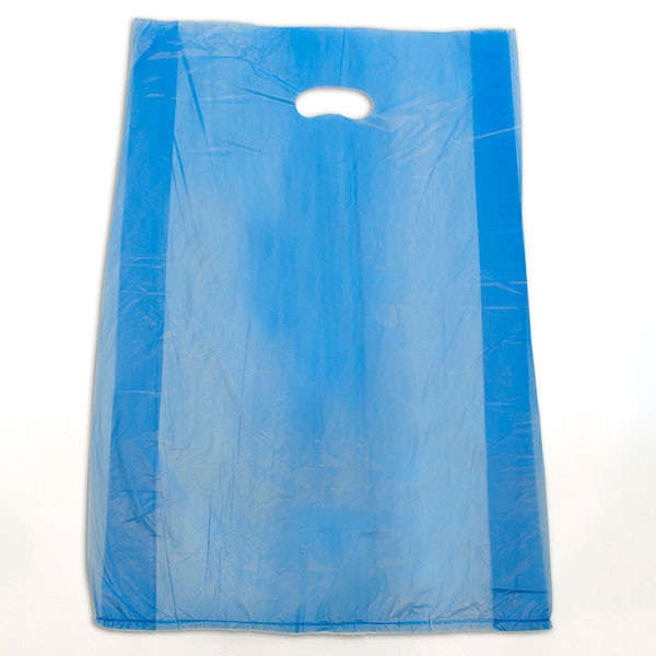 "Plastic bag with die cut handles high density 16""x4""x24"" blue"