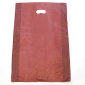 "Plastic bag with die cut handles high density 16""x4""x24"" burgundy"