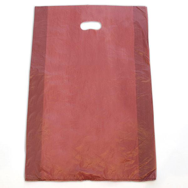 "Plastic bag with die cut handles high density 16""x4""x24"" burgundy"