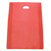 "Plastic bag with die cut handles high density 16""x4""x24"" red"