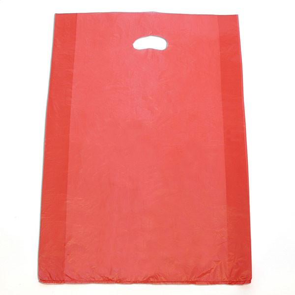 "Plastic bag with die cut handles high density 16""x4""x24"" red"