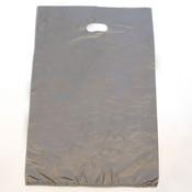 "Plastic bag with die cut handles high density 16""x4""x24"" silver"