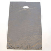 "Plastic bag with die cut handles high density 16""x4""x24"" silver"