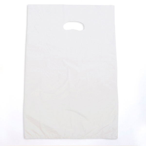 "Plastic bag with die cut handles high density 16""x4""x24"" white"