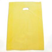 "Plastic bag with die cut handles high density 16""x4""x24"" yellow"