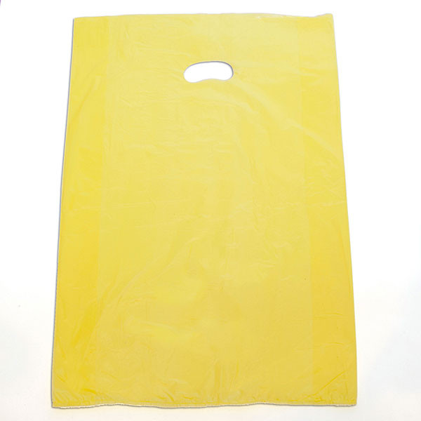 "Plastic bag with die cut handles high density 16""x4""x24"" yellow"