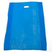 "Plastic bag with die cut handles high density 20""x4""x30"" blue"