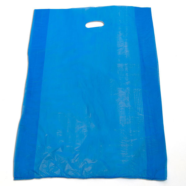 "Plastic bag with die cut handles high density 20""x4""x30"" blue"