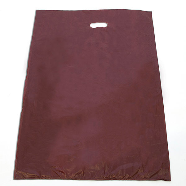"Plastic bag with die cut handles high density 20""x4""x30"" burgundy"