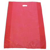 "Plastic bag with die cut handles high density 20""x4""x30"" red"