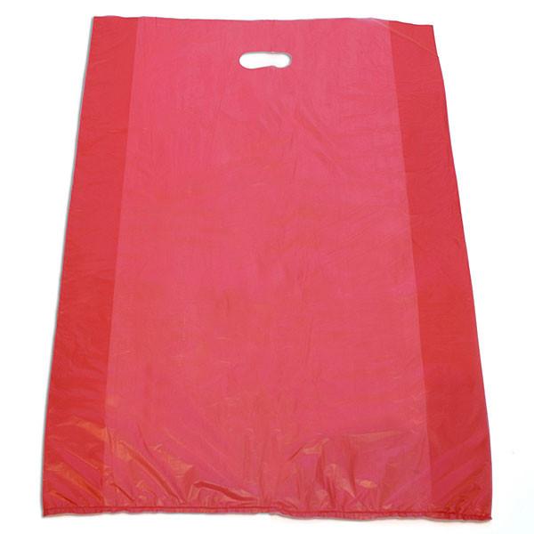 "Plastic bag with die cut handles high density 20""x4""x30"" red"