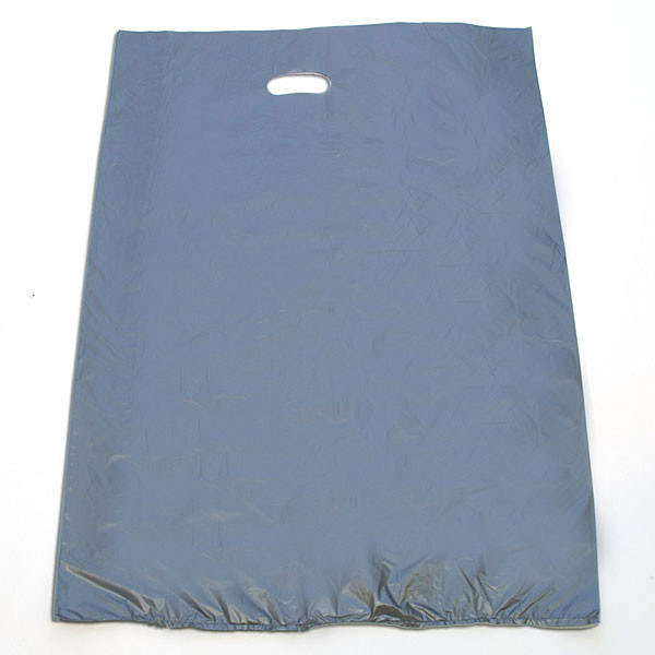 "Plastic bag with die cut handles high density 20""x4""x30"" silver"