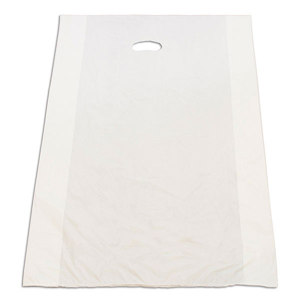 "Plastic bag with die cut handles high density 20""x4""x30"" white"