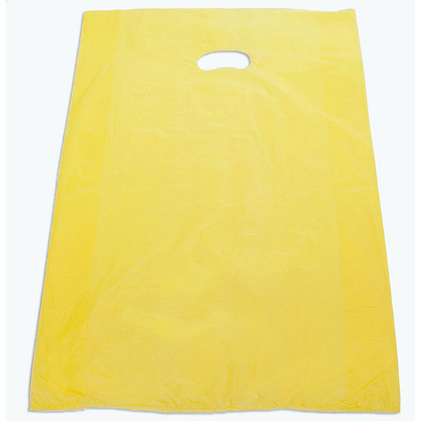 "Plastic bag with die cut handles high density 20""x4""x30"" yellow"