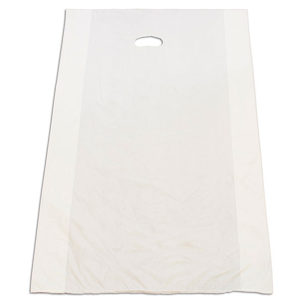 "Plastic bag with die cut handles high density 24""x6""x36"" white"